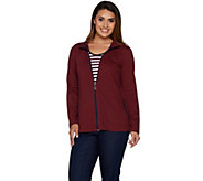 As Is Denim & Co. Active Zip Front Jacket with Striped Tank - A303824