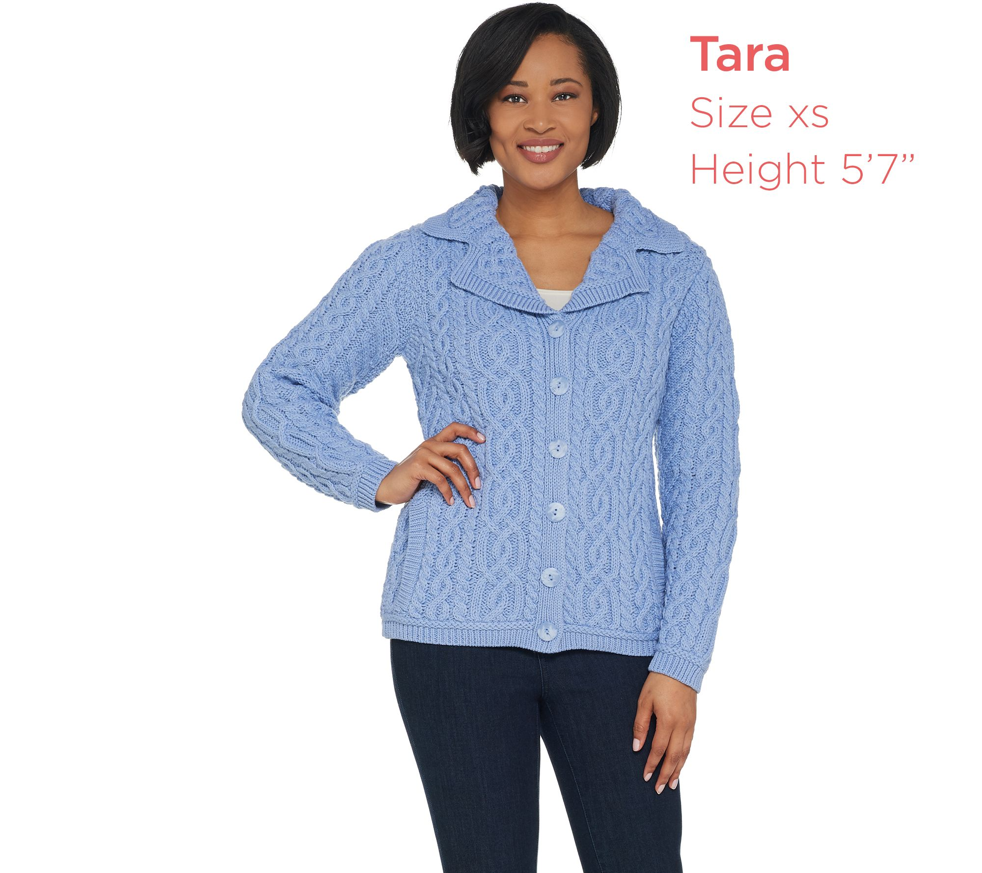 47e8876be99928 Aran Craft Merino Wool Button Front Sweater Cardigan - Page 1 — QVC.com