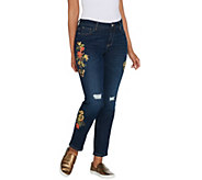 Du Jour Floral Printed Distressed Denim Ankle Pants - A307524