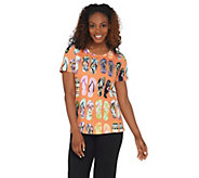 Quacker Factory Embellished Flip Flop Printed Knit T-shirt - A308124