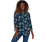 Joan Rivers Floral Print Tunic Top with Bow Sleeves - A310924