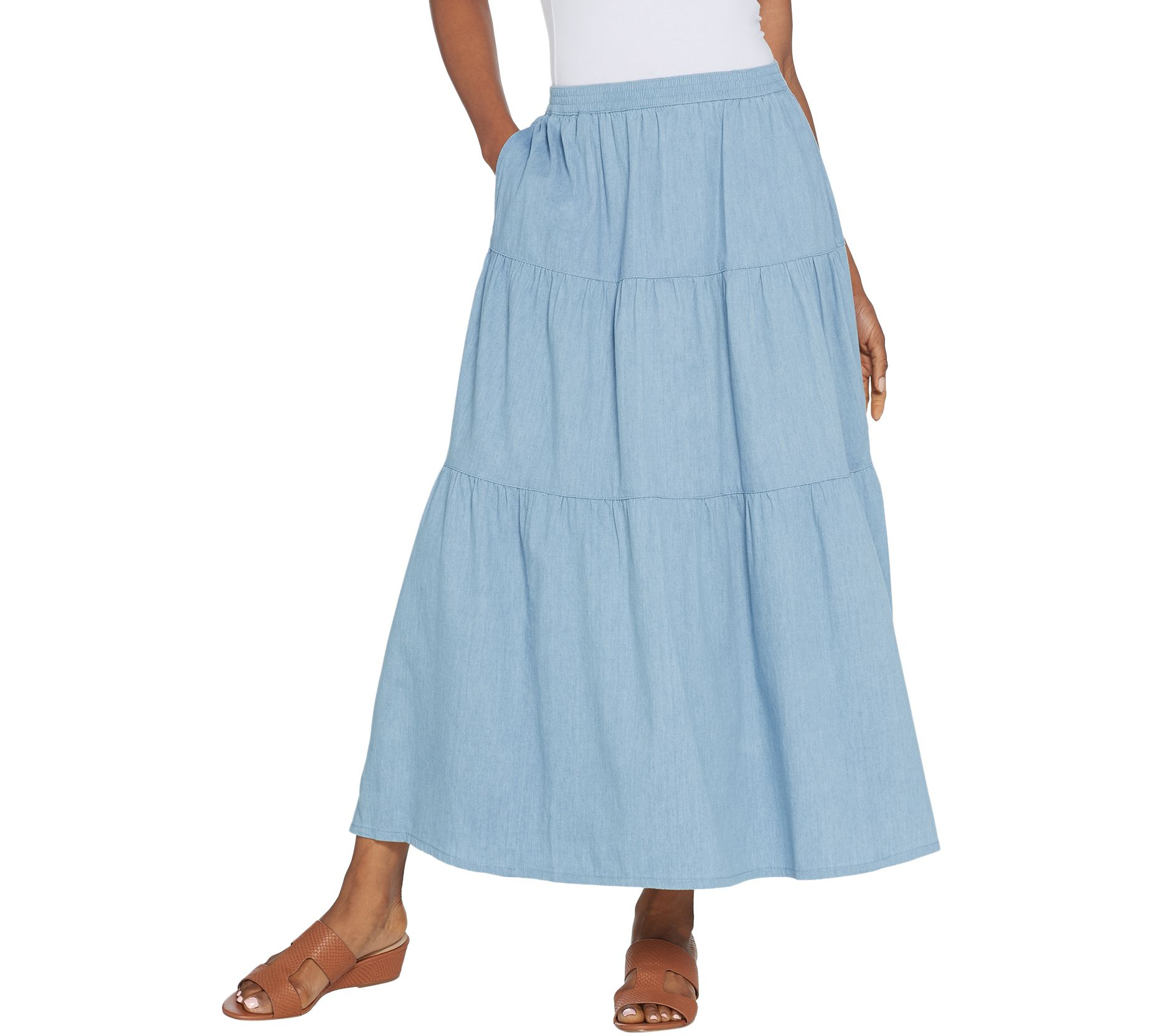 ec9eeba0d2 Denim & Co. Pull-On Stretch Chambray Tiered Maxi Skirt — QVC.com