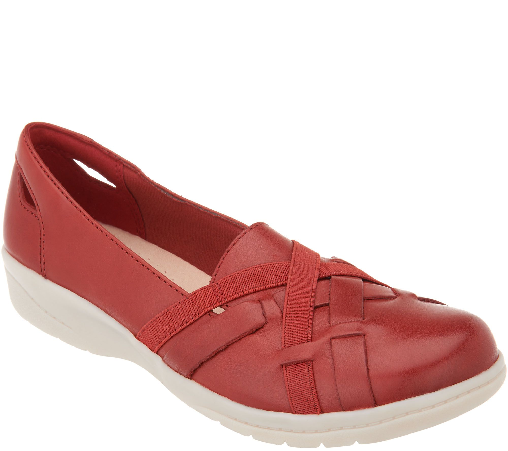 054776381698 Clarks Leather Slip-On Shoes with Woven Detail - Cheyn Creek - Page 1 — QVC .com