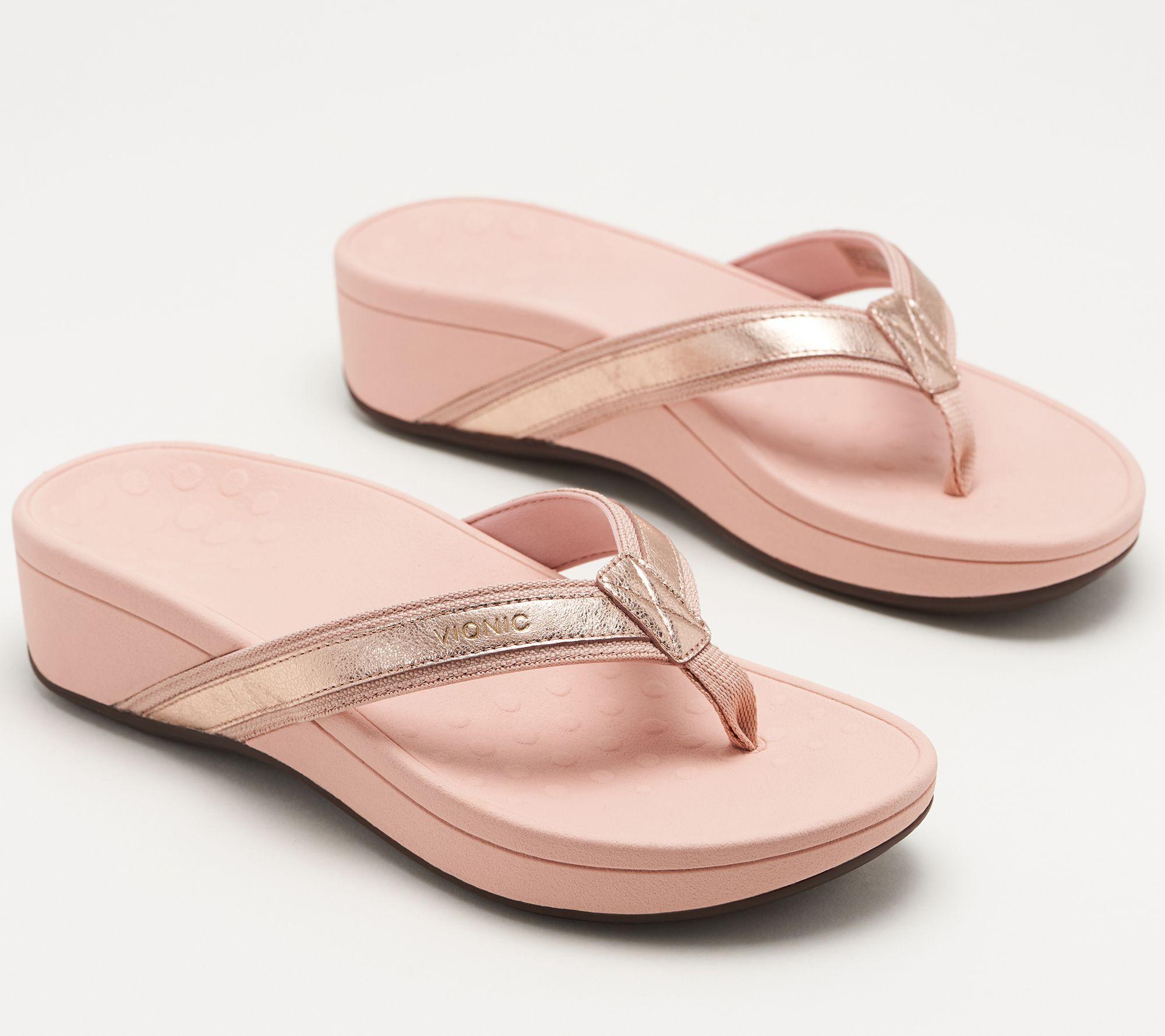 6c11cc3e8ee Vionic Platform Leather Thong Sandals - High Tide Metallic - Page 1 —  QVC.com