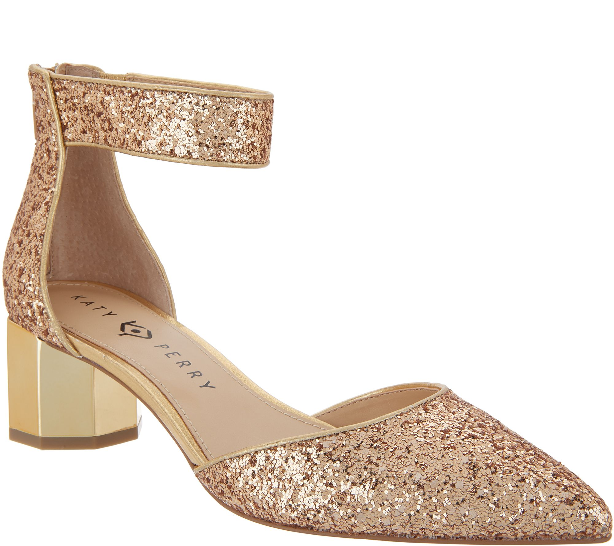 fdc2188a796 Katy Perry Glitter Ankle Strap Pumps - The Jo — QVC.com