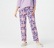 Denim & Co. Active Printed French Terry Slim-Leg Ankle Pants - A347324