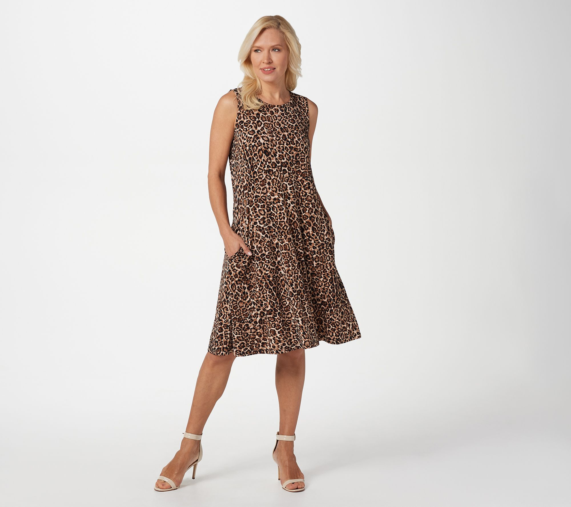 Susan Graver Liquid Knit Sleeveless Dress with Pockets - Page 1 ...