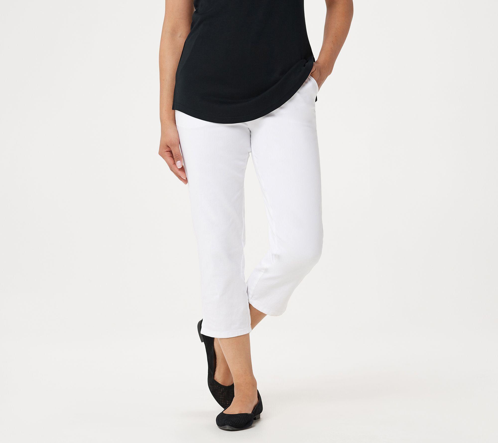 CROP PANTS how timeless LATTICE hem Khaki Size XL size QVC Denim /& Co