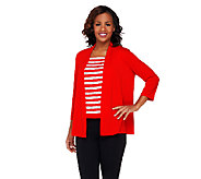 Bob Mackies Drape Front Cardigan with Sequin Stripe Shell - A222625