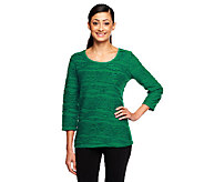 Liz Claiborne New York Scoop Neck Jacquard Textured Top - A226425