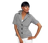 Joan Rivers Gingham Short Sleeve Signature Jacket - A234125