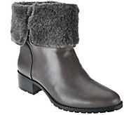 H by Halston Leather Ankle Boots with Faux Fur - Caroline - A271625