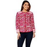 Isaac Mizrahi Live! Watercolor Damask Print Knit Jacket - A275425