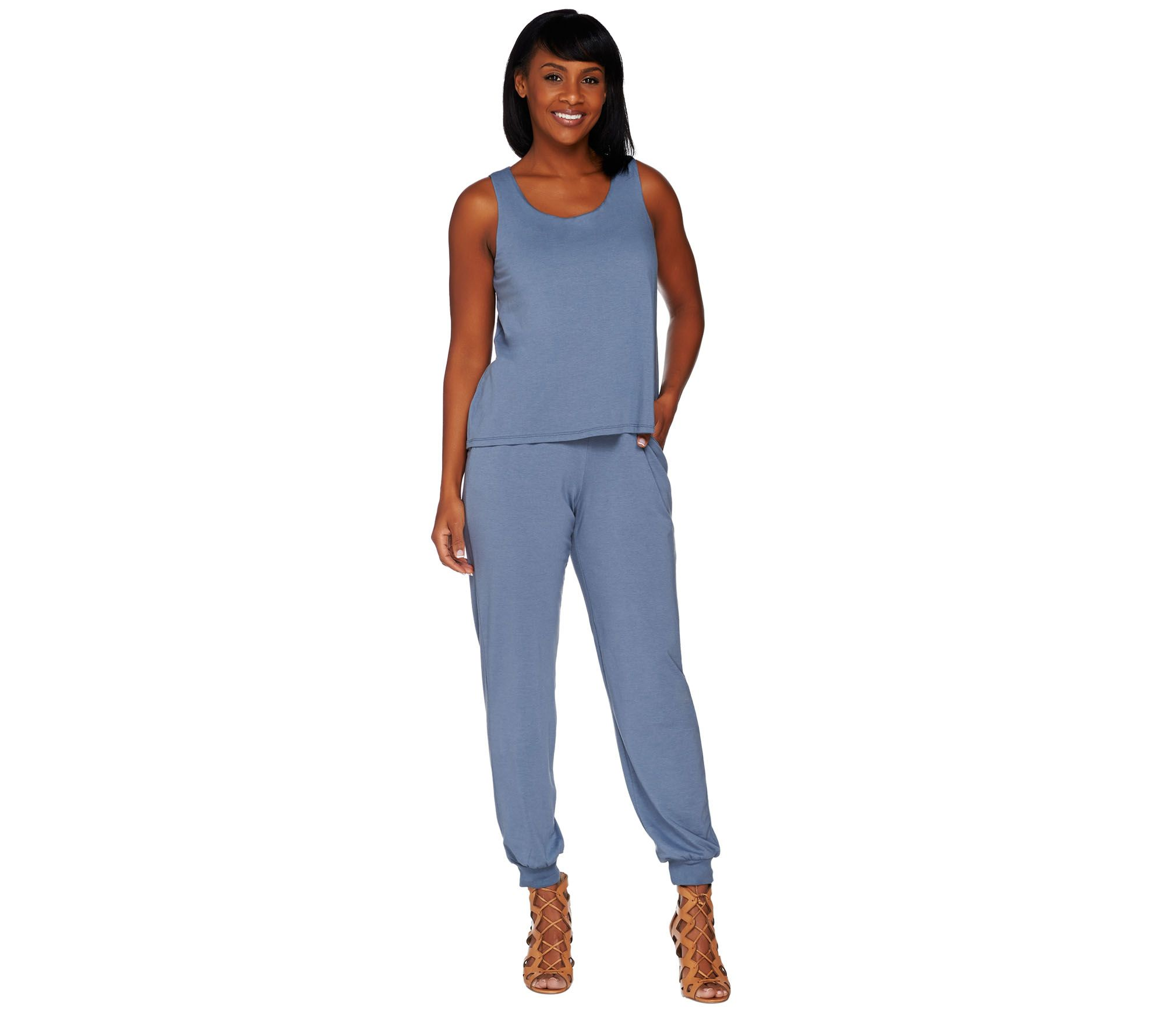 3b60563589c6 Lisa Rinna Collection Regular Banded Bottom Knit Jumpsuit - Page 1 — QVC.com