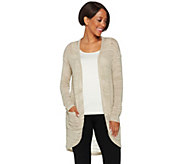 H by Halston Textured Space Dye Open Front Cardigan - A278925