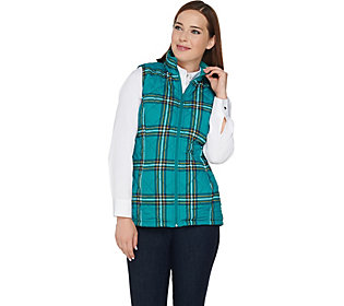 Denim & Co. Quilted Plaid Vest with FleeceLining