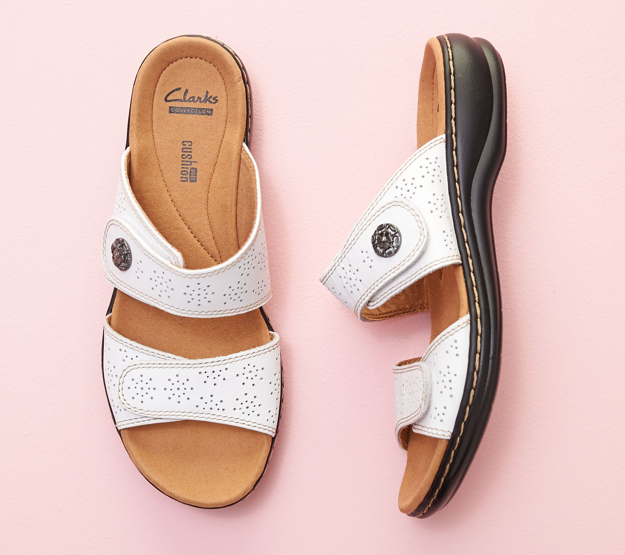 fcae817098f Clarks Leather Double Adjust Slide Sandals - Leisa Lacole - Page 1 — QVC.com