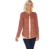 LOGO Lavish by Lori Goldstein Cotton Slub Embroidered Cardigan - A299625