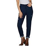 Martha Stewart Petite Distressed Girlfriend Jeans - A303225
