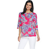 Susan Graver Printed Liquid Knit Top with Keyhole - A303325