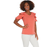 Susan Graver Liquid Knit Top with Crochet Trim - A304025