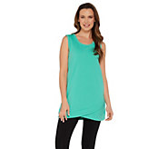 Denim & Co. Active Scoop Neck Hi-Low Hem Knit Tank - A304425