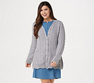 Aran Craft Merino Wool V-Neck Sweater Cardigan with Scalloped Hem - A305725