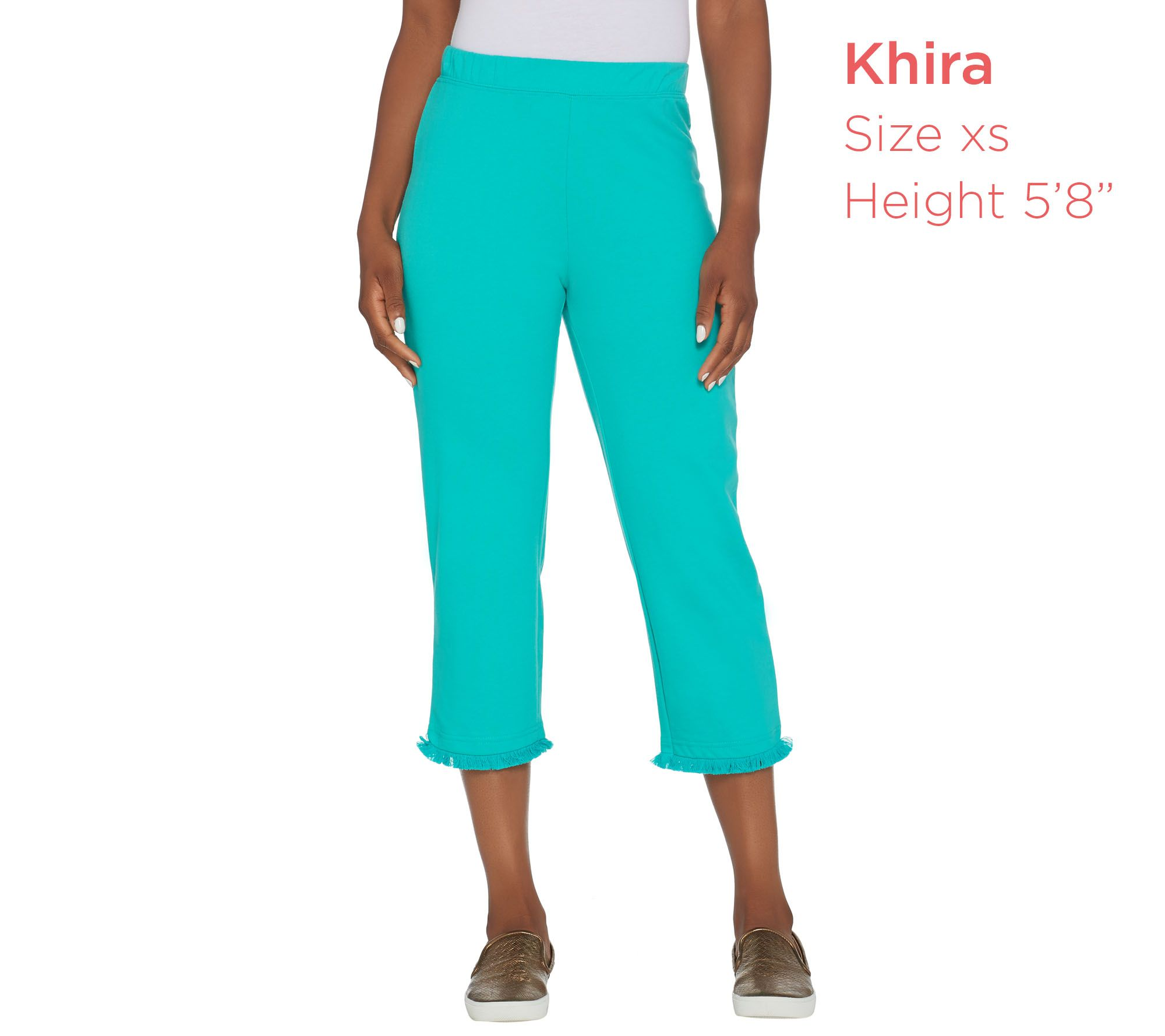 ba828de2b4471 Quacker Factory Pull-On French Terry Crop Pants with Fringe Hem - Page 1 —  QVC.com
