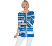 Susan Graver Printed Liquid Knit 3/4-Sleeve Tunic - A308225