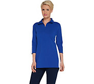 Denim & Co. Active 3/4-Sleeve Half Zip Knit Tunic - A309325