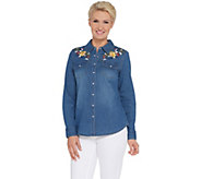 Denim & Co. Embroidered Stretch Denim Shirt - A309425