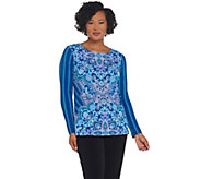 Bob Mackie Paisley and Stripe Print Knit Top - A342625
