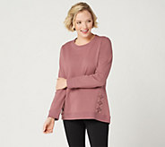 Denim & Co. Active French Terry Long-Sleeve Top with Grommets - A347325