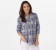 Joan Rivers Patchwork Plaid Tunic Top - A349225