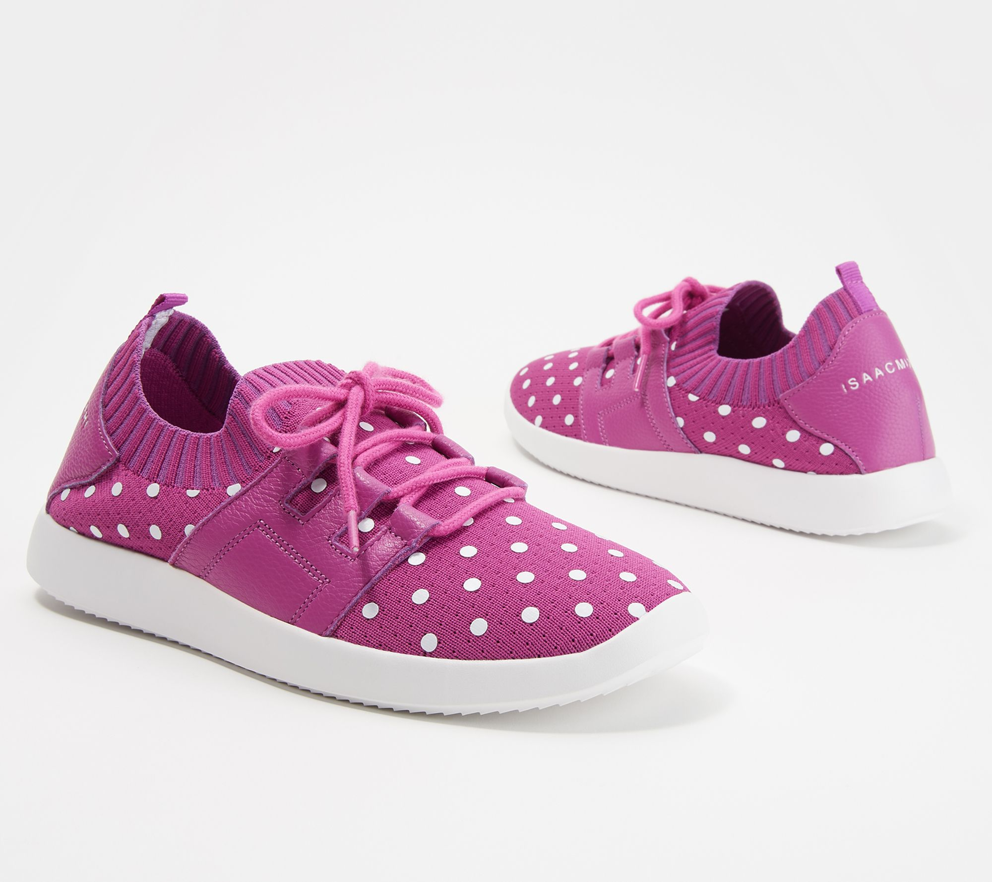 Isaac Mizrahi Live! Polka Dot Lace Up Knit Sneaker —