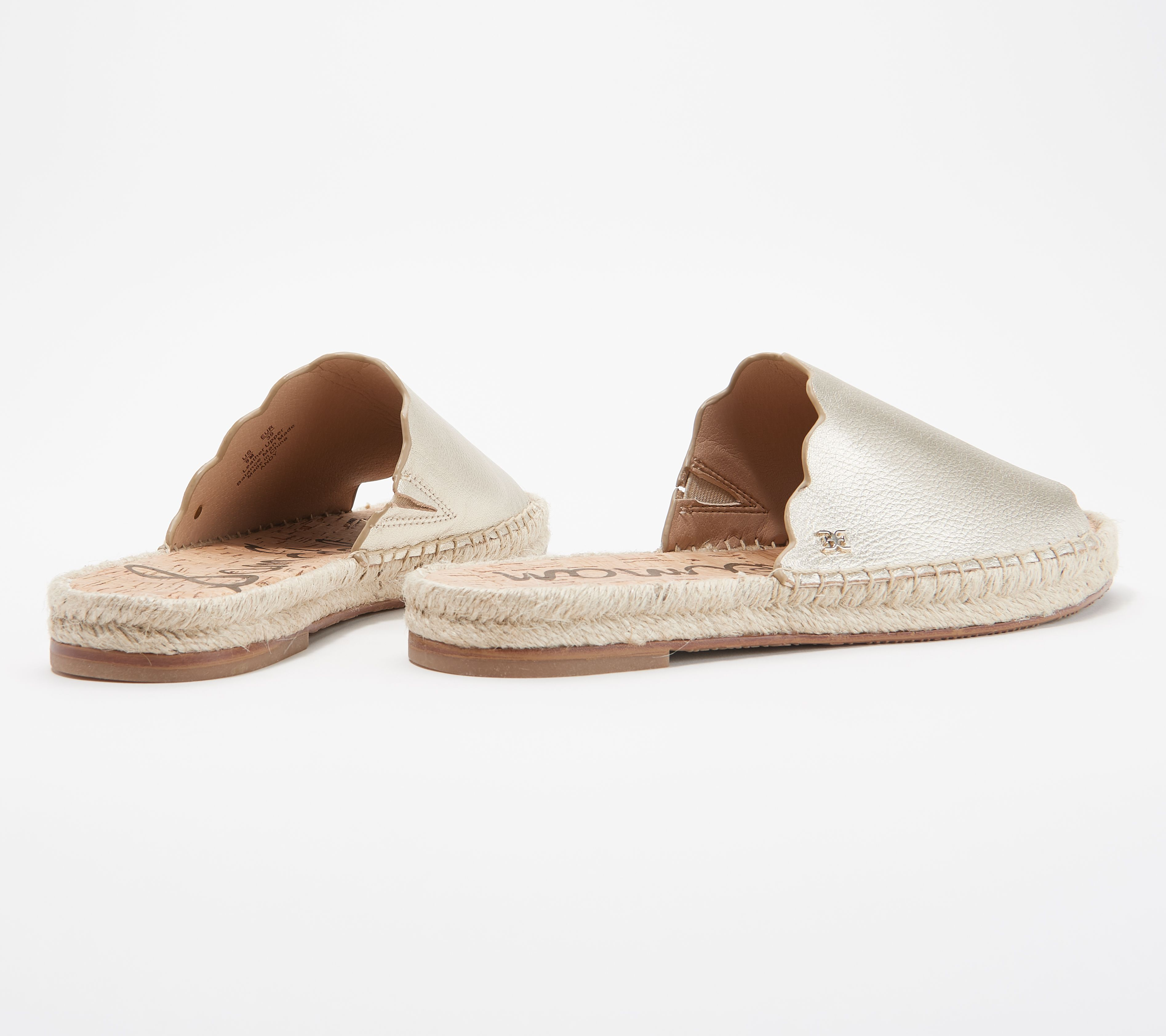 d9efab2c07b Sam Edelman Leather Espadrille Slide Sandals - Andy — QVC.com