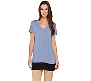 Lisa Rinna Collection Short Sleeve Color-Block Knit Tunic - A264726
