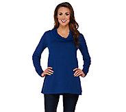 Susan Graver Rayon Nylon Sweater w/ Crinkle Chiffon Cowl Neck - A269226