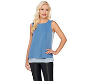 H by Halston Color-Block Layered Sleeveless Woven Top - A270226