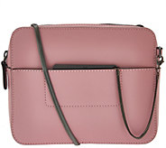 H by Halston Smooth Leather Crossbody Bag with Double Zippers - A274126