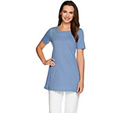 LOGO by Lori Goldstein Cotton Slub Knit Top with Lace Insets - A275026