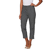 Dennis Basso Printed Cotton Sateen Crop Pants - A278226