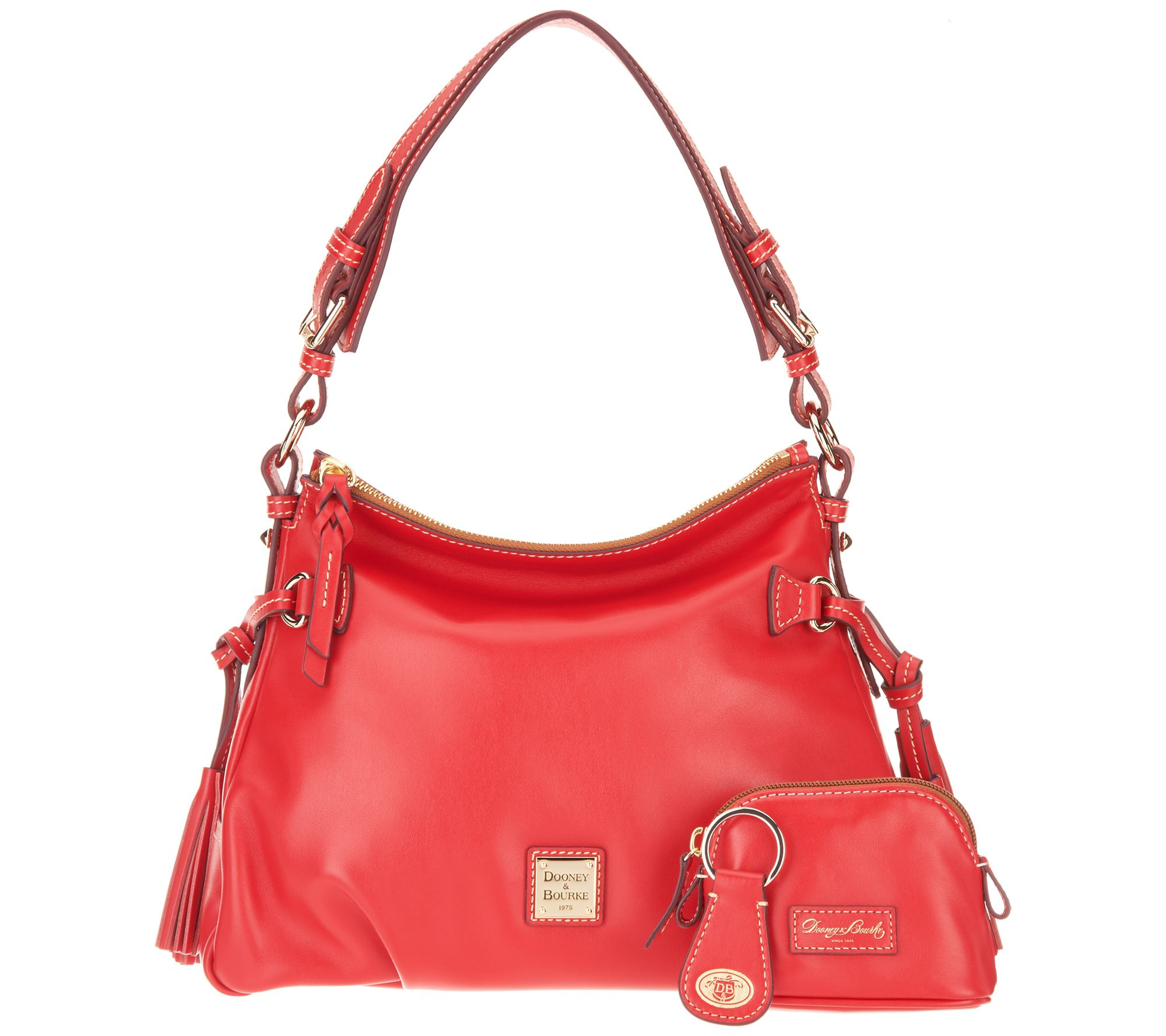5ef49df563 Dooney   Bourke Smooth Leather Shoulder Bag w  Accessories- Teagan - Page 1  — QVC.com