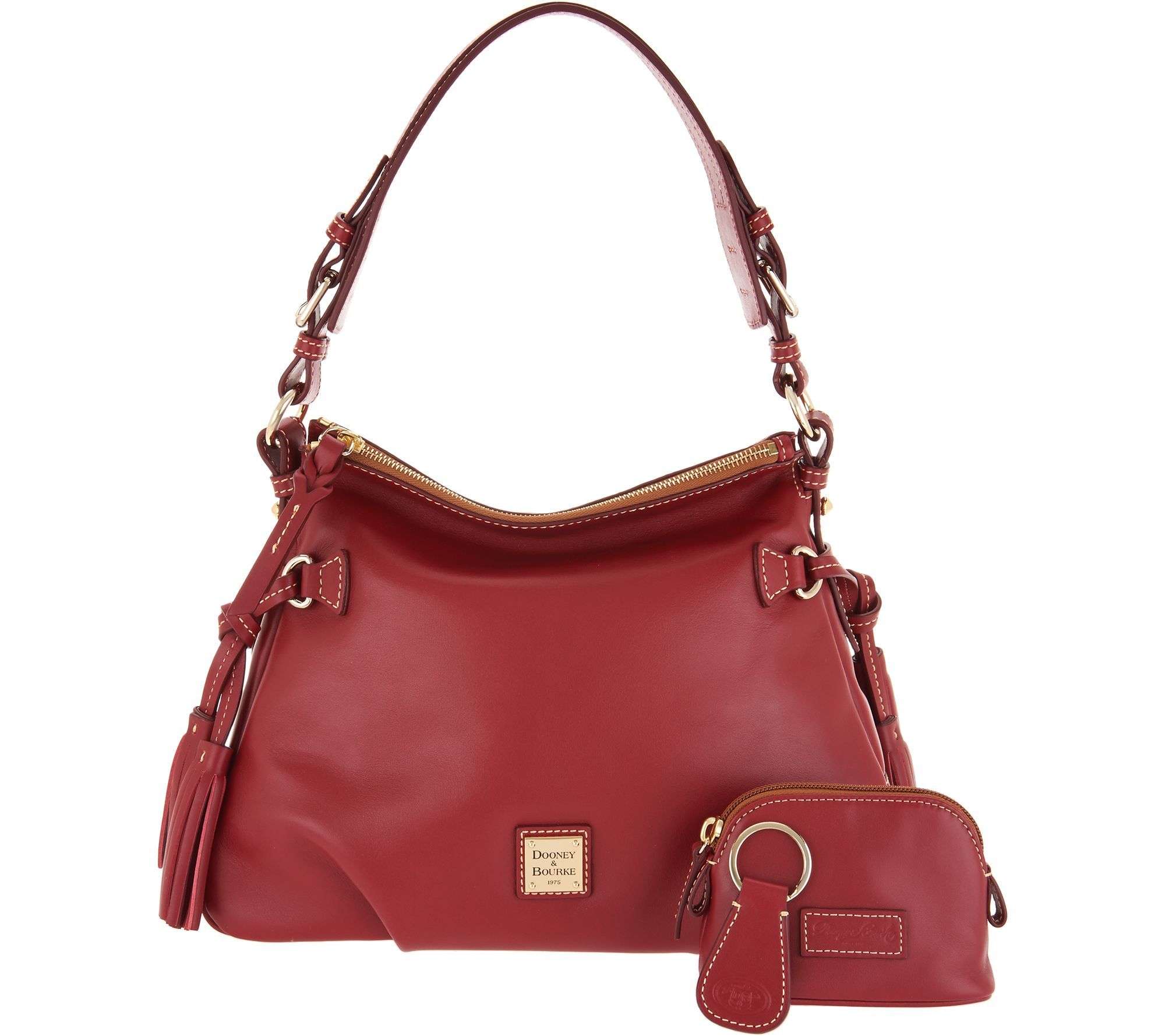 Dooney Bourke Smooth Leather Shoulder Bag W Accessories Teagan Page 1 Qvc