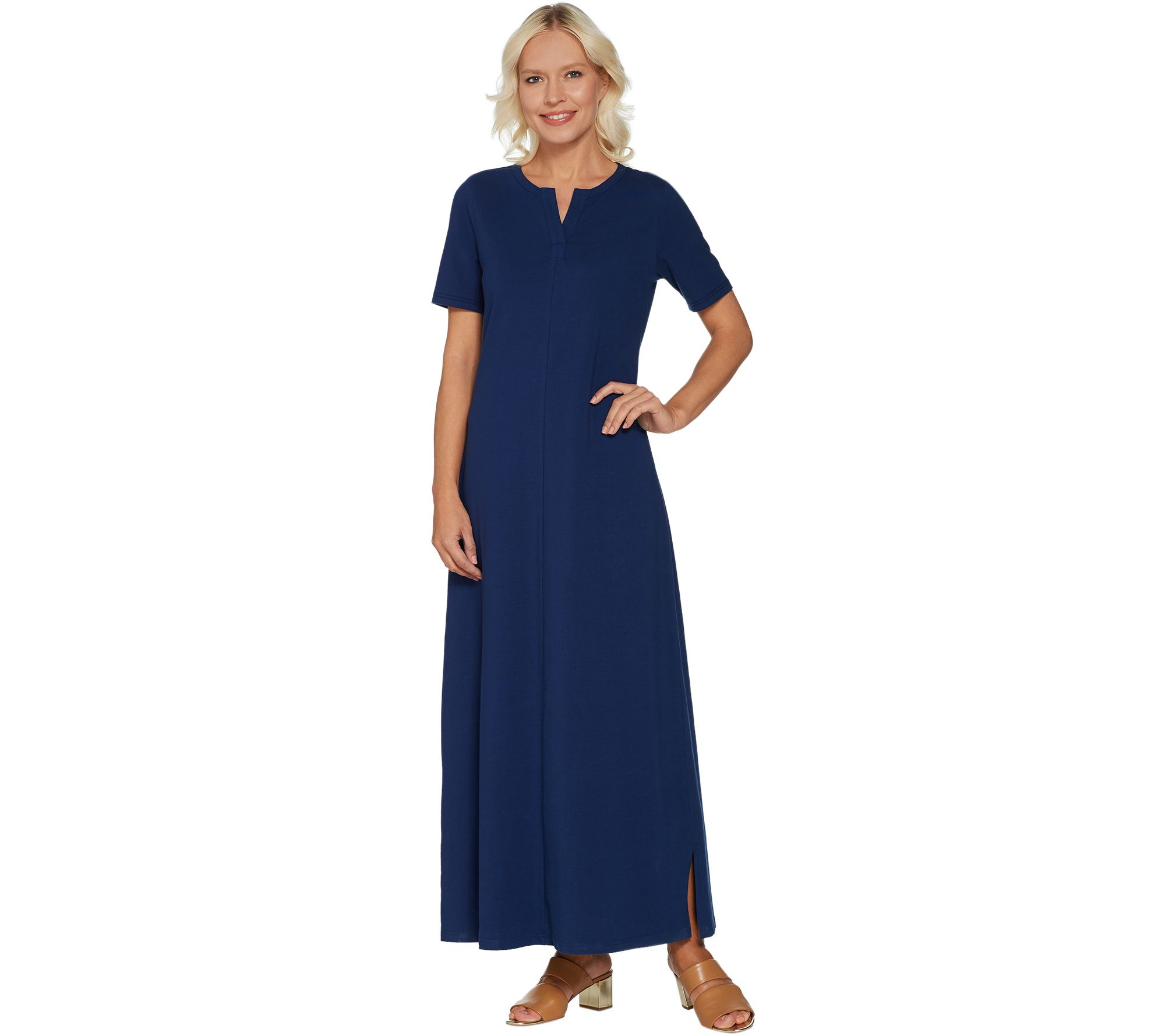 b4d9590803 Denim   Co. Essentials Split V-Neck Short Sleeve Knit Maxi Dress — QVC.com