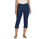 Martha Stewart Regular Knit Denim Pull-On Capri Jeans - A309326