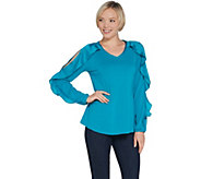 H by Halston Knit Crepe V-Neck Top with Overlap Sleeve Detail - A310026