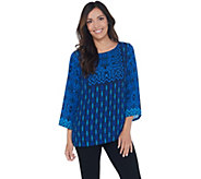 Bob Mackies Global Print Woven Pullover Top - A341826
