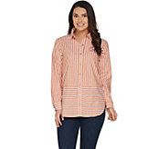 As Is Joan Rivers Long Sleeve Striped Button Front Shirt - A341926