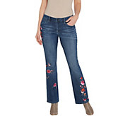 Laurie Felt Petite Classic Denim Embroidered Boot-Cut Jeans - A346626